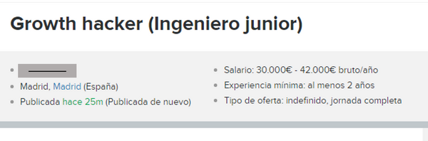Ejemplo Oferta Growth Hacker