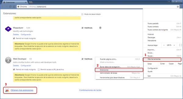Instalación extensiones en Chrome 1