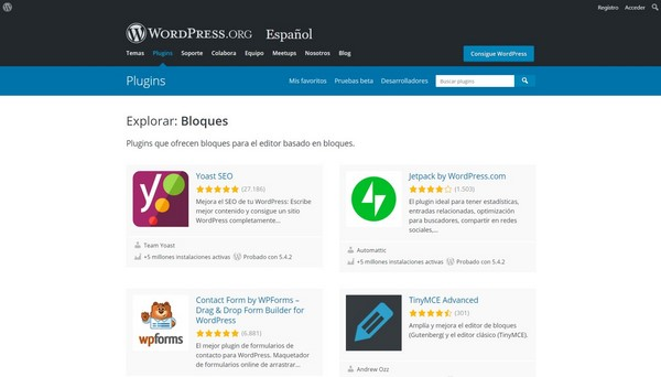 Repositorio oficial de Plugins para WordPress